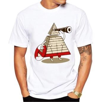 Yizu メンズTシャツファッションコットンプリントTシャツビーチガードクリエイティブ楽しい漫画TシャツパーティーパーソナライズプリントTシャツ (色 : White, Size : L)