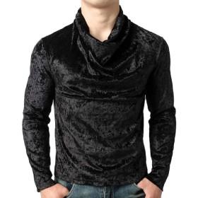 Beeatree メンズソリッドカラー半袖Tシャツクラブ Black S