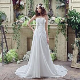 Milomi.CPレディースシフォンウェディングドレス花嫁ドレス結婚式ドレスワンピースドレスオフショルダーA-ライントレーン(白、12)