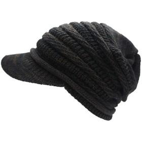 ドリームウォーク 帽子 ニット帽 コットンニットキャップ (Type3つばあり Lサイズ Black×Brown)