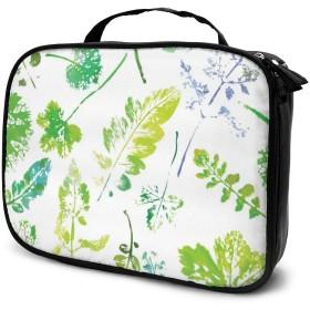 Jingoo 葉の美しい水彩パターン 化粧ポーチ メイクバッグ バニティケース 小物入れ 旅行 折り畳み 大容量
