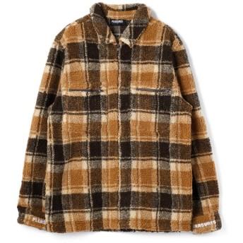 エルエイチピー PLEASURES/プレジャーズ/SHERBET ZIP OVERSHIRTS/ジップシャツ メンズ BROWN L 【LHP】