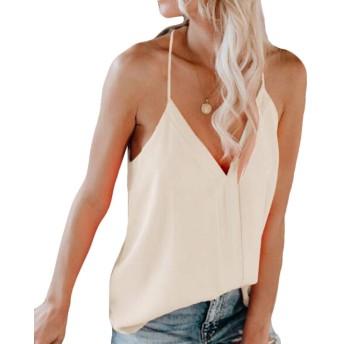 Wilngo レディースカラーブロック夏VネックブラウススパゲッティストラップタンクトップTシャツ Apricot XXS