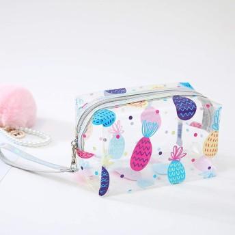 化粧ポーチ 化粧バッグ メイクボックス 収納ケース メイクブラシバッグ トイレタリーバッグ プロ用 小物入れ 化粧道具 調整でき 機能的 大容量 防水 旅行用 (パイナップル)