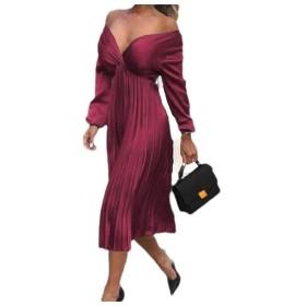 VITryst 女性長袖フリルピュアカラープリーツVネックフルレングスドレス Wine Red M