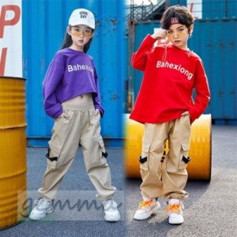 キッズダンス衣装 Tシャツ パンツ HIPHOP 演出服 子供ダンス 団体服練習着 ステージ衣装 カジュアル 女の子 ヒップホップ 男の子 JAZZ 体