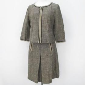 【中古】ストロベリーフィールズ STRAWBERRY-FIELDS セットアップ スーツ 七分袖 ジャケット スカート 膝丈 ベージュ