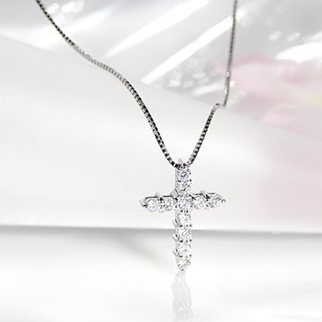 ダイヤモンド ネックレス クロス ペンダント 0.15ct K18WG(0.15カラット ホワイトゴールド) 品質保証書