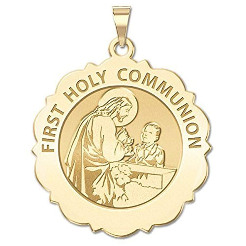 3//4 Inch Size of a Nickel PicturesOnGold.com Sacred Heart of Mary Scalloped Religious Medal Solid 14K White Gold