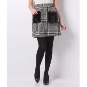 (GeeRa/ジーラ)フェイクファーポケットチェック柄スカート/レディース ブラック