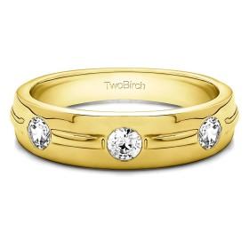イエローメッキ シルバー メンズ 結婚指輪 ダイヤモンド(G-H、I1-I2)(0.35Ct) サイズ3から15インチ 1/4サイズ