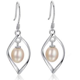 PINGFUFF HOME 真珠純銀製のイヤリングの女の子のイヤリングの気質の長い段落のペンダントシンプルな野生のモデル、シルバー、ワンサイズ