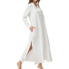 女性カクテルマキシドレスプラスサイズビンテージカジュアルロングスリーブドレスポケット付き White S