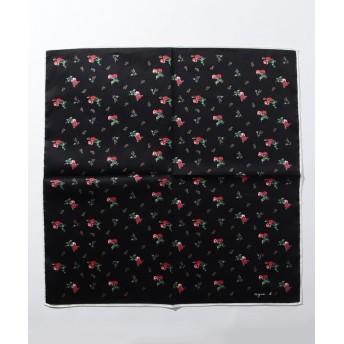 アニエスベー KD40 HANDKERCHIEF LITTLE ROSES フラワーモチーフハンカチ レディース ブラック F 【agnes b.】