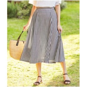 【J.PRESS LADIES:スカート】【洗える】フェイクリネンギンガム スカート