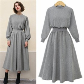 【 L ~ 5XL 】 大きいサイズ レディース 長袖 ロング セーター ワンピース ドレス お出かけ 4XL 3XL 70623