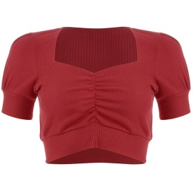 TAALESET 女性のセクシーなUネックニット固体トップスクロップTシャツブラウスセクシーな服 (色 : レッド, サイズ : L)