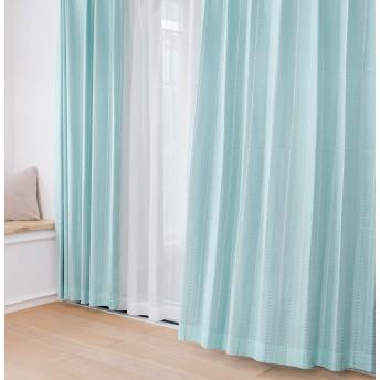 ドットストライプカーテン+レースカーテン4枚セット (幅100×丈150cm(4枚), ブルー)