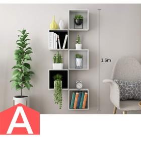 HUO TVの壁の棚の格子縞のテレビの壁の壁の装飾フレーム クリエイティブウォールシェルフ (色 : A)
