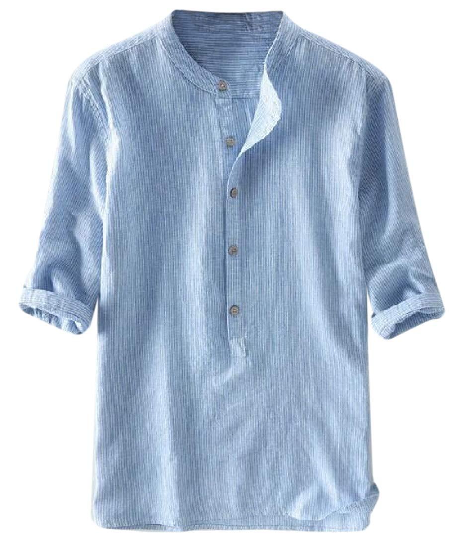 pipigo Men Button Down Slim Fit Long Sleeve Lapel Inner Contrast Shirts