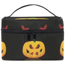 Halloween Black Cat Eye 化粧品袋オーガナイザージッパー化粧バッグポーチトイレタリーケースガールレディース