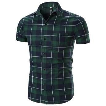 cheelot メンズベーシックカジュアルスタイルロールスリーブダブルプラケットドレスシャツ Green M