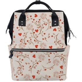 ZHONGJI マザーパッケージ 軽量 便利 多機能バックパック 大容量 収納袋 外出用 防水 厚手 赤いハートと花の背景