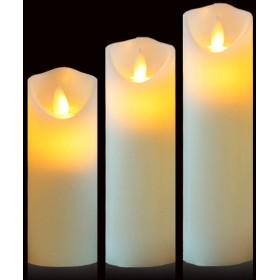 Friengood 火を使わないキャンドル 電池式 LEDピラー 本物のロウ 揺らめく電気無香キャンドル アイボリー 1セット H567xD2.2
