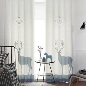 OSONA 欧式 高級 遮光カーテン 鹿 プリント 格子縞 アニマル シンプル セミオーダー カスタマイズ おしゃれ インタリア ホーム リビング 寝室飾り 客間飾り 子供部屋 UVカット 仕切り 遮像 8サイズ ホワイト