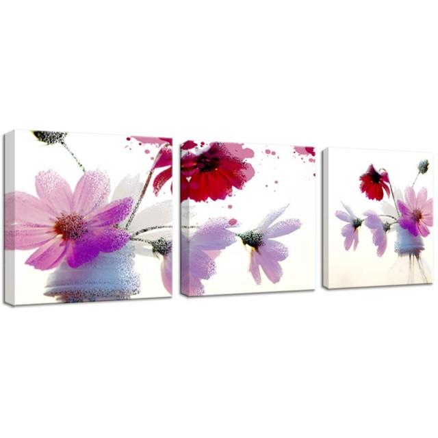 アートフレーム モダン 現代 花風景画 こすゐ 壁の絵 壁掛け ソファの背景絵画 壁アート しゃしん 3パネルセット(木枠付きの完成品) (30x30cmx3pcs, 菊の花)