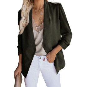 Nicellyer Women Solid Over Sized Pocket Slim Fitted Casual Blazer Outwear Army Green S