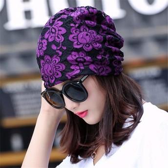 Chuiqingwang 帽子レディースファッションヘッドギアヒップホップ帽子包頭月キャップ化学療法キャップ (Color : Purple, サイズ : M)