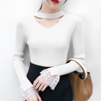 ニット・セーター - luby 秋冬物 長袖ニットセーター ブラック ホワイト ブルー 韓国ファッション