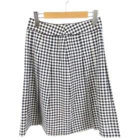 【中古】ノーリーズ Nolley's MICO COULIER ロングスカート フレアー ギンガムチェック 紺 ネイビー 白 ホワイト 38 ボトムス 美品 レディース