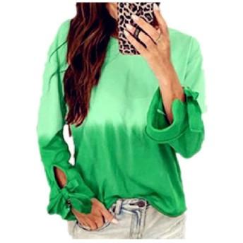 EnergyWD Women Long Sleeve Gradients Casual Weekend Strappy Outwear Top Coat Dark Green M