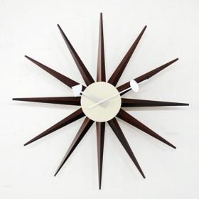 SUNBURST clock(サンバースト・クロック)ウォールナット色【正規ライセンス商品】     【ジョージ・ネルソン】【壁掛時計】【ネルソンクロック】【高品質】【低価格】【デザイナー時計】