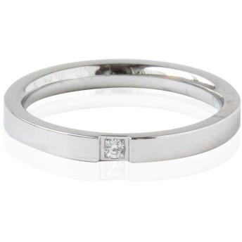 【14号/ シルバージルコニア CZダイヤ 一粒 平打ち 幅2mm リング 指輪 サージカルステンレス シルバー 銀色 アクセサリー レディース プチプラ 格安
