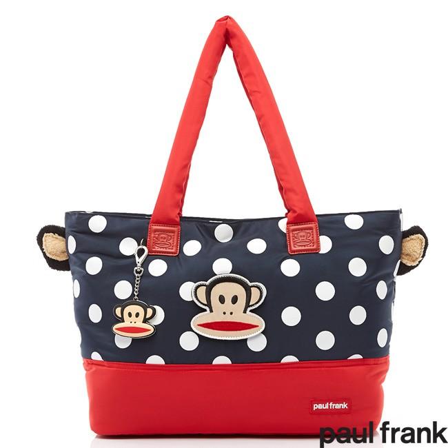 【Paul Frank大嘴猴】可愛造型絨毛猴耳2th系列購物袋/托特包/肩背包(深藍色)