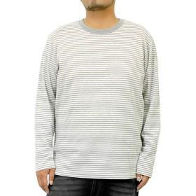 長袖Tシャツ メンズ 大きいサイズ 無地 ボーダー フライス クルーネック カットソー L グレー×ボーダー