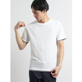 【m.f.editorial:トップス】リンクスジャガード幾何学柄 クルーネック半袖Tシャツ