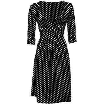 Semme女性カジュアルスタイルVネックハーフスリーブ服ハイウエストドットスイングドレス(XXL-White)