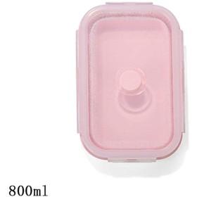 折りたたみ式電子レンジシリコーン弁当弁当箱ポータブル健康素材弁当箱食品貯蔵容器食品箱1個/ 3個 (Color : Pink, Size : 800ml)