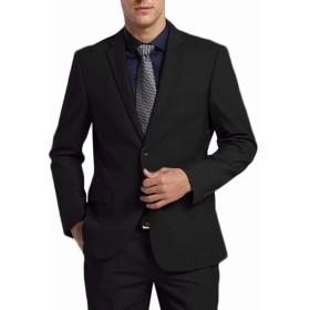 FTIMILD メンズスーツ ビジネススーツ 上下セット セットアップ 2ピース スリム 紳士服 二つボタン 細身シルエット 礼服 結婚式 無地 就活 オールシーズン 防シワ (ブラック, XL)