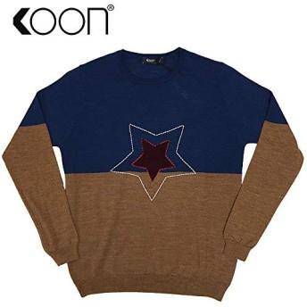 [クーン] STAR DESIGN KNIT スターデザインニット クルーネック ステッチ ウール混紡 メンズ L UNICA