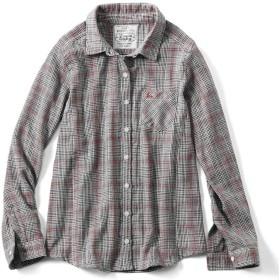 リブ イン コンフォート 重ね着してももたつかない! ストレッチガーゼ×カットソーの伸びシャツ〈グレンチェック〉 M((身幅47~49/総丈64~65cm))
