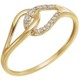 Jewels By Lux レディース 14Kイエローゴールド0.08 CTWダイヤモンドリングサイズ7