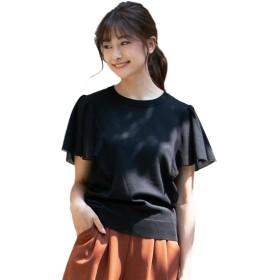 [神戸レタス] メッシュ フリル袖 サマーニット トップス [C3947] レディース 半袖 ワンサイズ(M) ブラック