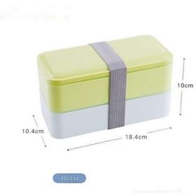 3色1000ミリリットル二重層弁当箱食品収納容器電子レンジお弁当箱食器弁当 (Color : Green)