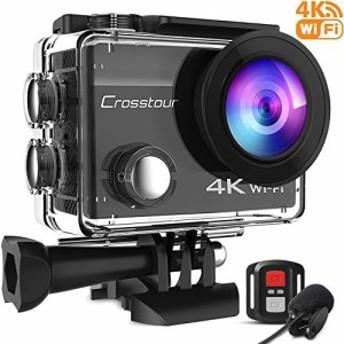 【新品】【進化版】Crosstour アクションカメラ 4K高画質1600万画素 水中カメラ 外部マイク リモコン付き WiFi搭載 手ブレ補正 タイムラ