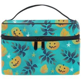 便携式ハロウィンかぼちゃ メイクボックス 收納抜群 大容量 可愛い 化粧バッグ 旅行
